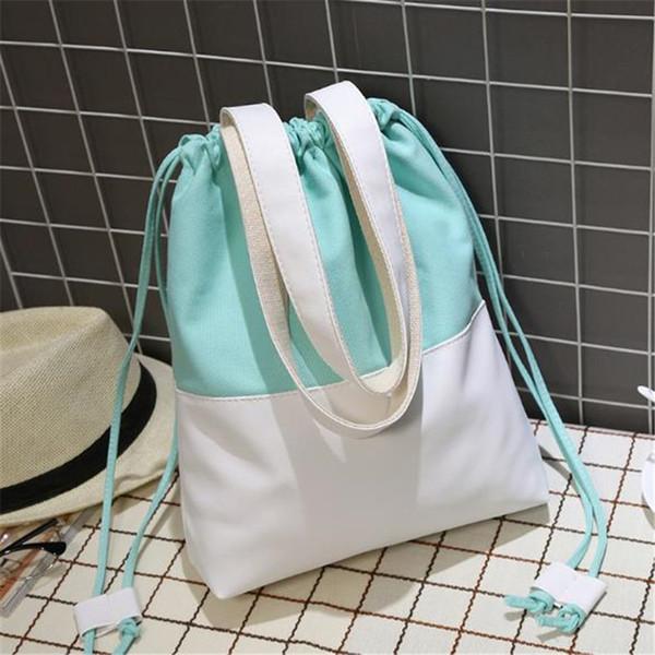 Novo Saco de Compras Reutilizável Moda Patchwork Ombro Saco Dobrável Comprador Ocasional Tote Canvas Coreano Meninas Livro Bolsas