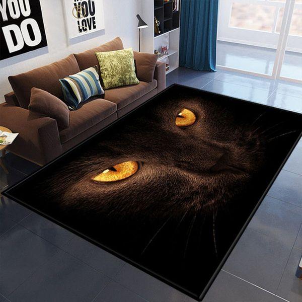 3D Print Black Cat Blue Eyes Non-slip Soft Home Bathroom Mats Polyester Fabric