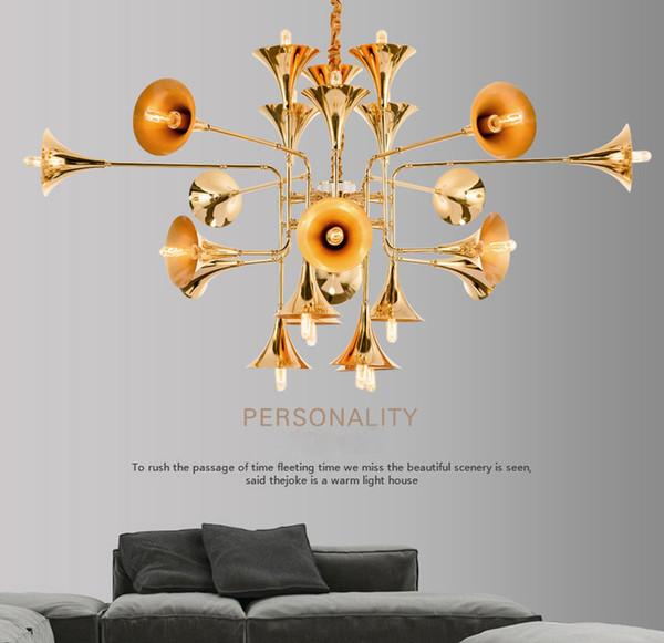 Industrial wind post-modern speaker big pendant lamp simple creative personality double floor villa pendant lights