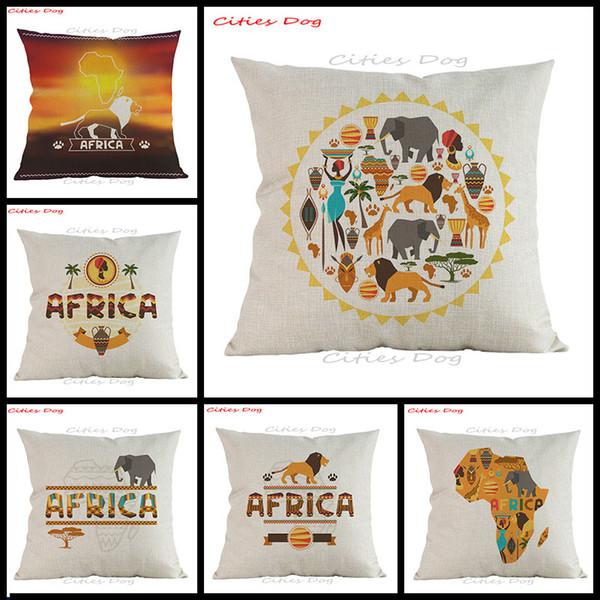 Nationale Wind afrikanischen Stil Kissenbezug Kissenbezug Leinen Cartoon Tier Afrika Muster gedruckt Home Sofa Dekoration Kissenbezug