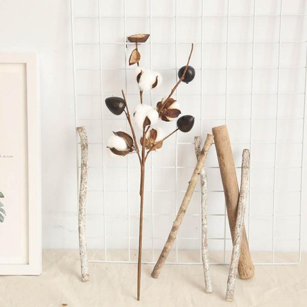 1 unids Flores Secas Rama de Algodón Natural Artificial Naturalmente Secado Tallo de Taller Flor de Flores Florales Decoración para el Hogar Nueva