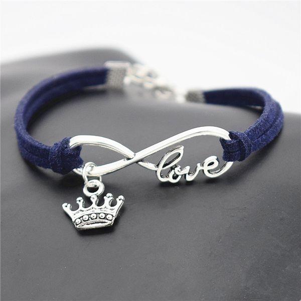 New Silver Plated Alloy Infinity Love Elegant King Crown Charm Bracelets Vintage Fashion Women Men Handmade Dark Navy Leather Suede Jewelry