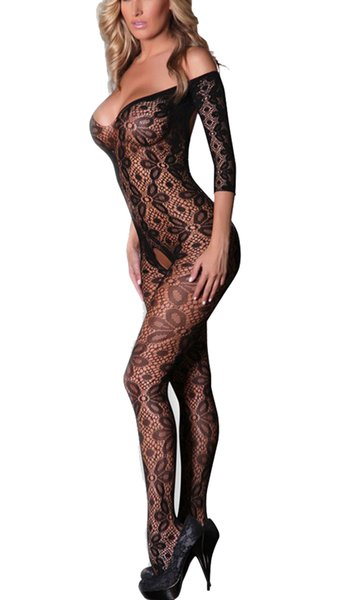 best selling Women Lace Floral Open Crotch Fishnet Bodystockings Off-shoulder Scoop Back One-piece Lingerie Exotic Jumpsuit Teddy Sexy Underwear