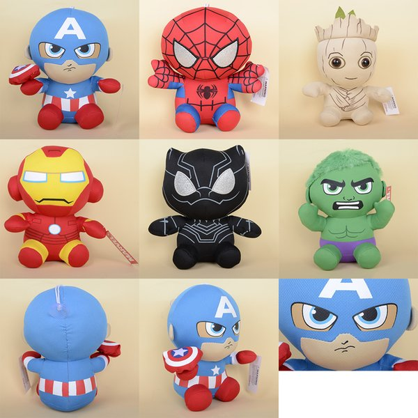 "8"" Marvel Super Hero Plush Toys The Avengers Spiderman Groot Black Panther Hulk Captain America Stuffed Doll Great Gifts For Kids"