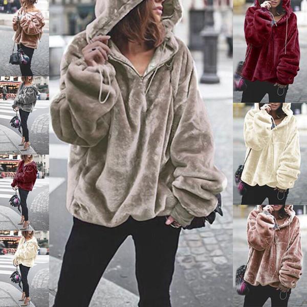 Fall Winter Women Long Sleeve Flannel Warm Loose Street Style Sweatshirts Zipper Oversized Hooded Jumper Pullovers Tops