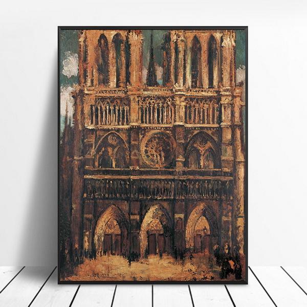 Notre Dame de Paris Decorative Painting Core Canvas Hanging Painting New Micro-spray Oil Painting Living Room Fresco