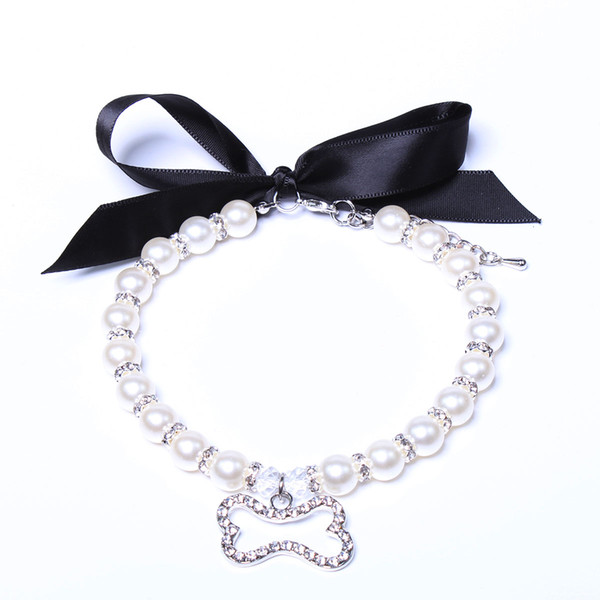 Dog cat Pearls Necklace Collar With Rhinestones Ribbon Bone Charm Pendant Pet Puppy Jewelry 3 sizes 2 colours