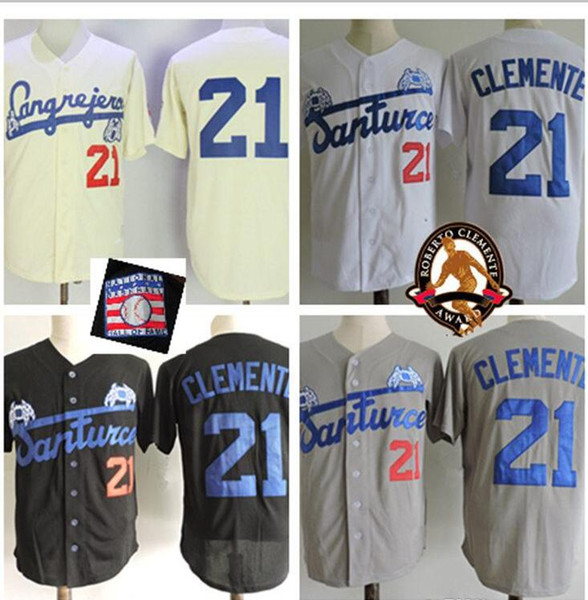 cheap for discount cac06 0b203 2019 Men Puerto Rico Cangrejeros De Santurce Crabbers Jerseys Gray #21  Roberto Clemente Black White Stitched University Baseball Jerseys From ...