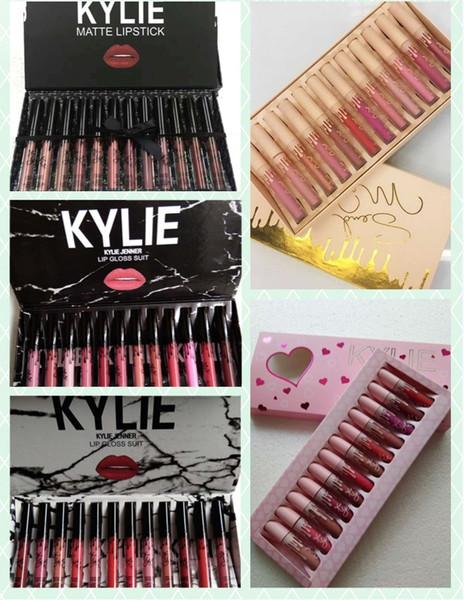 kylie Lipgloss fall & pink & brithday & take me on%kyshadow storm 12 colors Matte Liquid Lipsticks Cosmetics 12pcs Lipgloss Lip Gloss Set