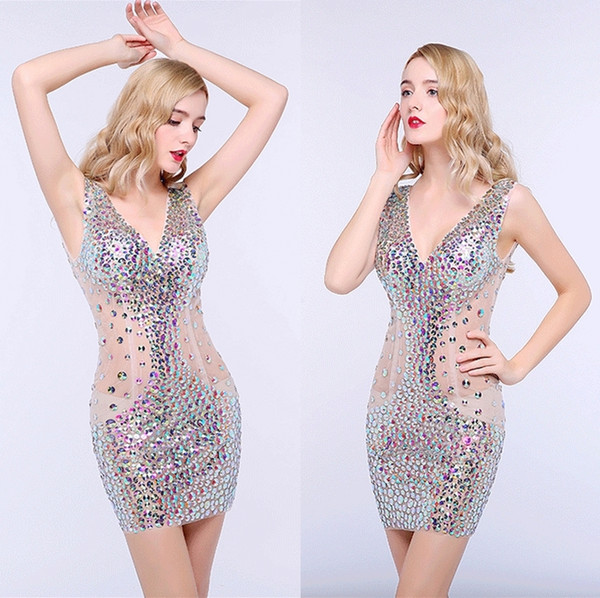 Sexy Party Dresses Short Section Skirt Deep V Necklace Night Club Dresses Package Hip Car Model Catwalk Step Skirt Prom Dresses DH1616