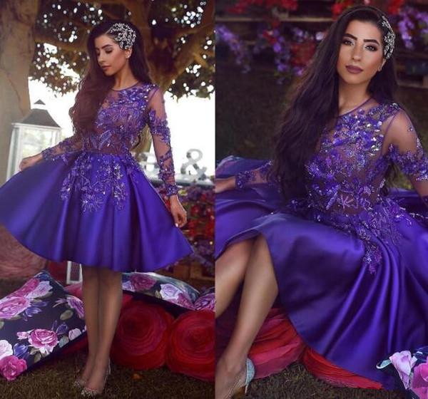 2019 Vintage Africano Árabe Real Púrpura Corto Cóctel Fiesta Vestidos Fiesta Manga larga Una línea Sheer Neck Applique vestido moldeado de fiesta Vestidos de gala