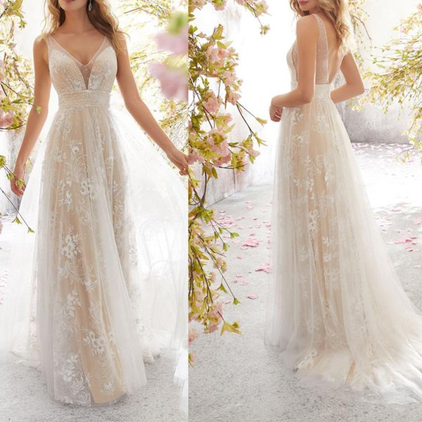 European beauty god fresh foreign trade new wedding dress sexy B-neck sleeveless lace wedding dress