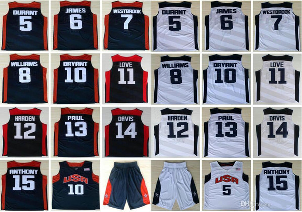 top popular 2012 Team USA Kevin 5 Durant LeBron 6 James Harden 10 K B Chris Paul Kevin Love Anthony Williams Westbrook Davis Basketball Jerseys 2020