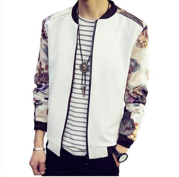 Autumn Spring Men Hoodies Baseball Tracksuits Sweatshirts Men Stand Collar Flower Printed Long Sleeves Coat Sweatshirts