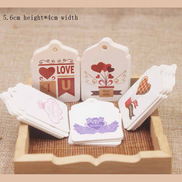 Feiluan new arrival big scallop shape sweet love deisgn wedding tag label full color print gifts hang tag label 1000pc/lot