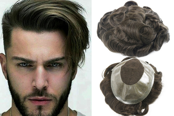 Free Shipping Fashion Green Brown Color Toupee for Thinning Hair Men Full Lace Men's Wig Hair Pieces Brazilian Virgin Human Hair Replacement