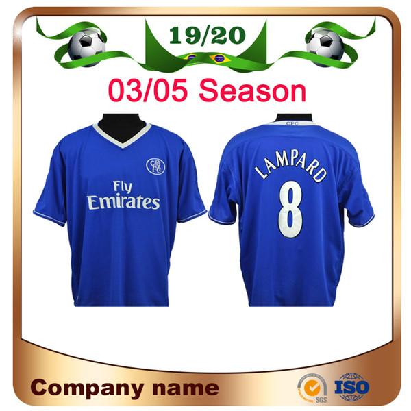 2004 2005 Retro Crespo Classic Maillot de foot 03/05 Drogba Hasselbaink Zola Lampard Maillot de foot Velvet Nom Lampard Custom Football uniforme