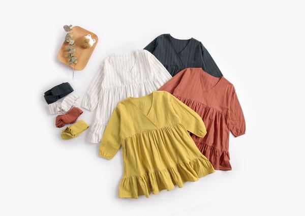 NEW girls Kids Designer Clothes Spring Solid Color V-neck Stripped Print dress causal 100% cotton girls dresses
