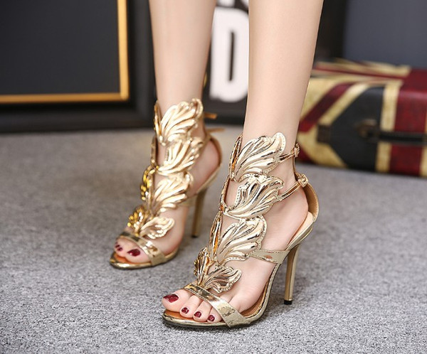 Hot Sale Metal Wings Leaf Strappy Dress Sandal Silver Gold Red Gladiator High Heels Shoes Women Metallic Winged Sandals 11cm