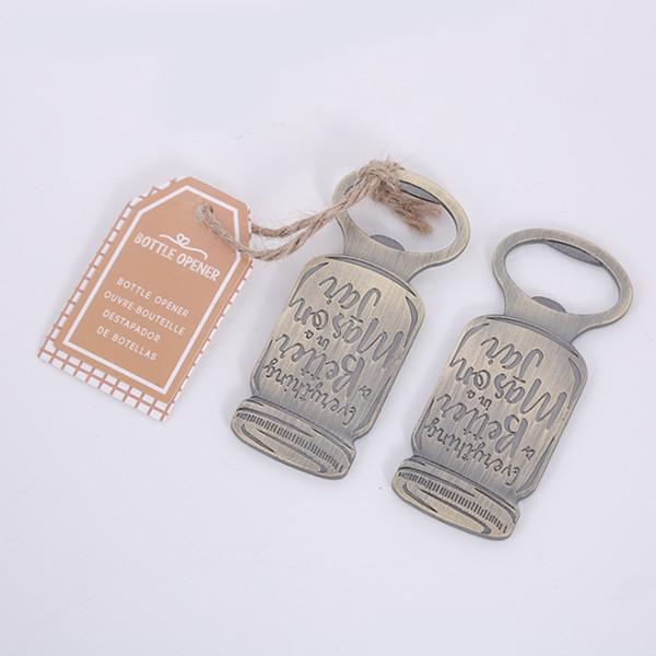 Faveurs et cadeaux de mariage Vintage Mason Jar Métal ouvreur de bouteille de bière Fournitures parti