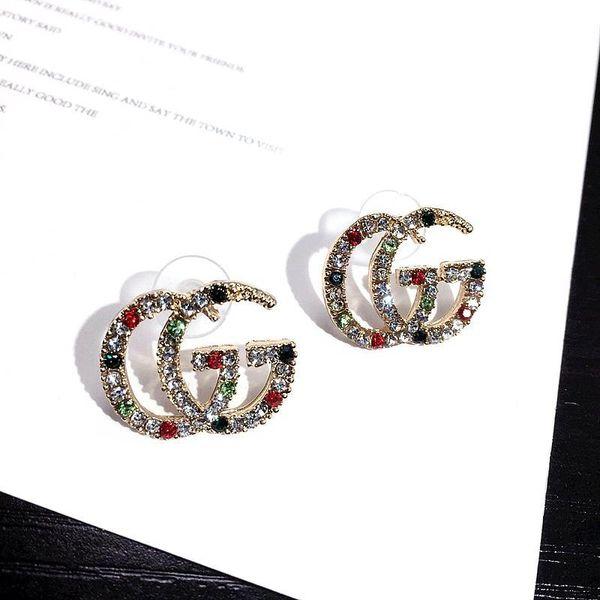 top popular New Arrival Crystal Rhinestone Letter Earrings Fashion Luxury Earrings for Women Jewelry Famous Designer Earrings Free Shipping 2019