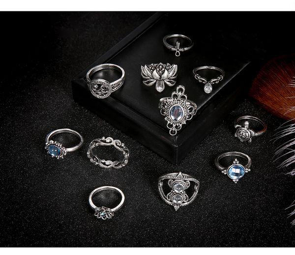 2019 11 piezas de las mujeres anillos de la vendimia Conjunto Rhinestone de la flor del amor del corazón del estilo de Bohemia junta articulada de uñas M808F joyería Midi anillo retro