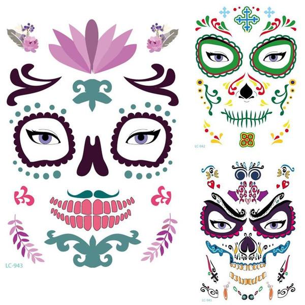 Heiße Art 10pcs / lot Halloween temporäre Gesichts-Kunst Wasserdicht Mask Sugar Skull Tattoo Beauty Sticker neu