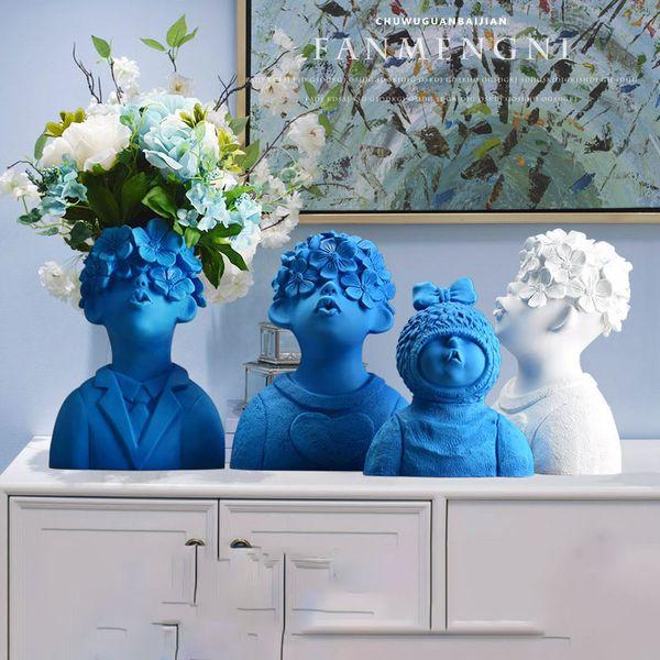 blue decorative vases.htm 2020 northern europe resin vase figurines creative cute boys  northern europe resin vase figurines