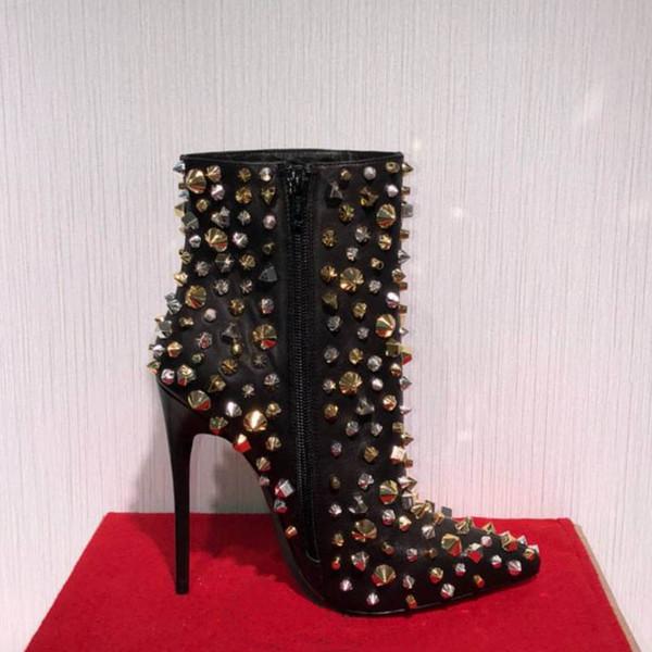 Vendita calda-Designer di lusso Stivali da donna Fondo rosso Tacco alto 10CM Donna Mezza caviglia Stivali da neve corti invernali Cavaliere rivetto Stivaletto con scatola