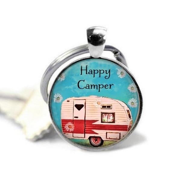 2018 neue glücklich camper legierung schlüsselanhänger glücklich camping schmuck camping reise camping anhänger schlüsselanhänger charme cabochon kristall schlüsselbund