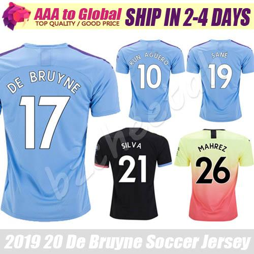 Top Thail City jersey 2020 Camisas Home Away Sterling Mahrez Kun Aguero De Bruyne Outdoor Apparel Soccer jersey football shirts