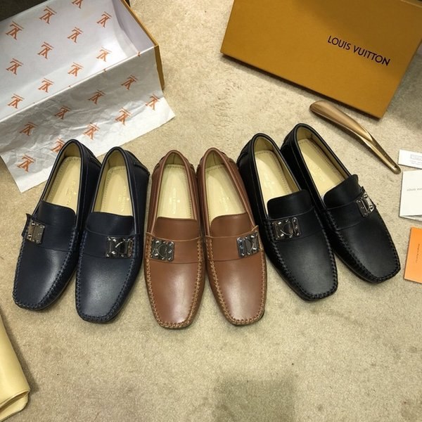 2019 İtalyan Lüks Erkekler Elbise Ayakkabı İngiliz Tarzı Metal Sivri Burun Hakiki Deri Erkek Ayakkabı Siyah Parti Iş Ayakkabıları boyutu 38-46