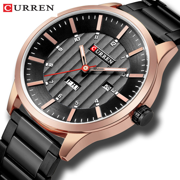 curren fashion quartz men watches stainless steel date wristwatches casual calendar man watch men business relogio masculino, Slivery;brown