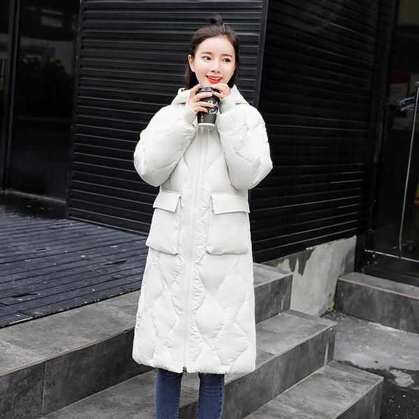 a1d85f928f5 Корейская зимняя парка женские красные куртки с капюшоном теплые свободные  длинные женские зимние пальто черный белый верхняя одежда толстые Женские  пальто