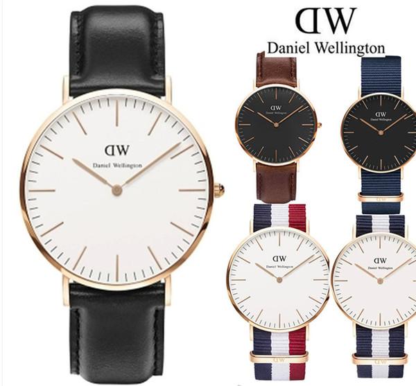 Diseñador de moda a prueba de agua para hombres, reloj de lujo para mujeres, Daniel Wellington DW, cuarzo de nylon, 40 mm, para hombre, relojes de 36 mm para mujer, relojes Montre de luxe