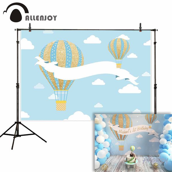 llenjoy backgrounds for photography studio Blue sky white clouds gold blue stripe hot air balloon backdrop customize photocall Allenjoy b...