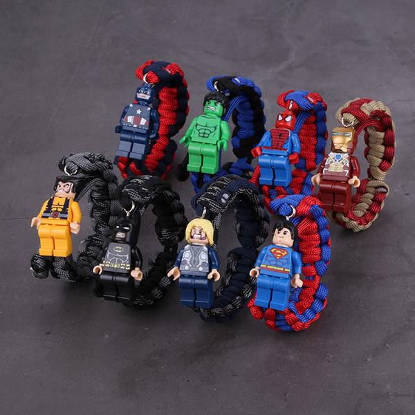 Superhero Avengers Block Figure Bracelet Iron Man Spiderman Captain America Superman Figures Weave Bracelets Toy Bracelet Bangle 320278