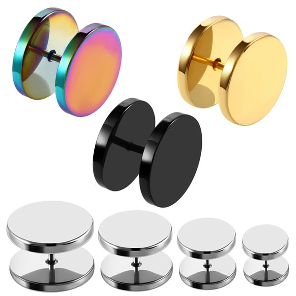 2PCS Steel Fake Ear Plug Ear Tunnels Punk Plugs and Tunnels Stretcher Tunnel Stud Earring 6/8/10/12/14mm Sex Body Jewelry