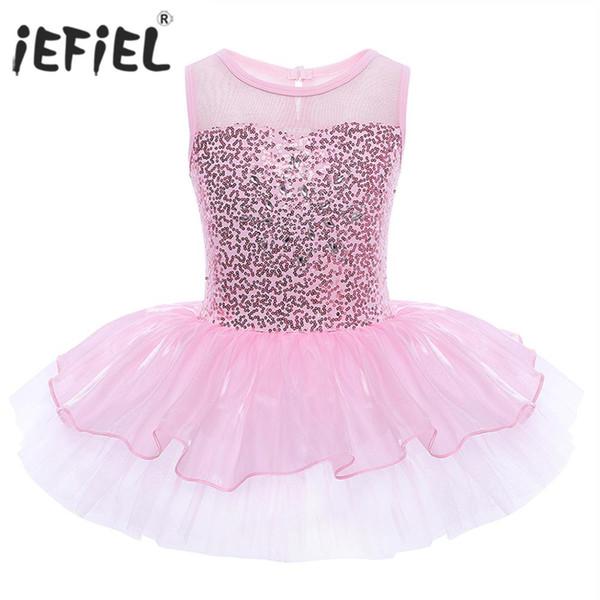 ymnastics leotards iEFiEL Kids Girls Sequins Ballet Tutu Dance Gymnastics Leotard Dress Ballet Dancewear for Children's Ballerina Costu...