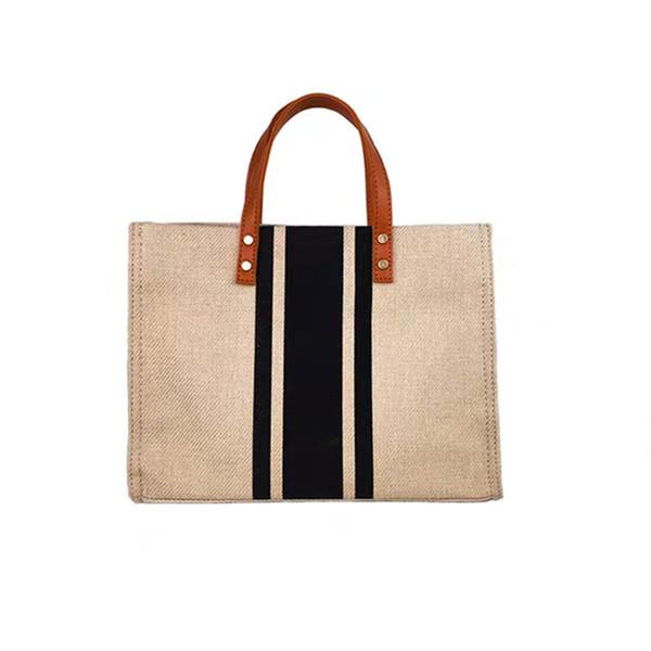 Frauen Leinen-Handtasche Female beiläufige Schulter-Beutel Büro-Dame-bewegliche Aktentasche Große Kapazität Luxus Tasche # T30