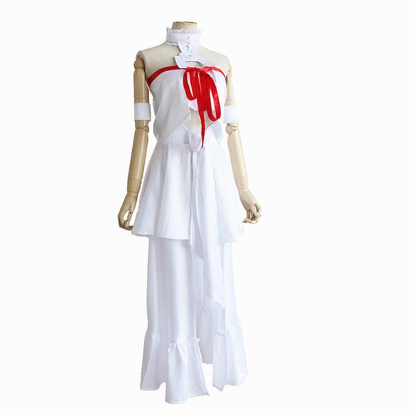 Acquista SAO Sword Art Online 3 Fairy Dance Cosplay Asuna Yuuki Parrucche Costume Bianco Top Pannello Esterno Del Partito Di Halloween Del Vestito A