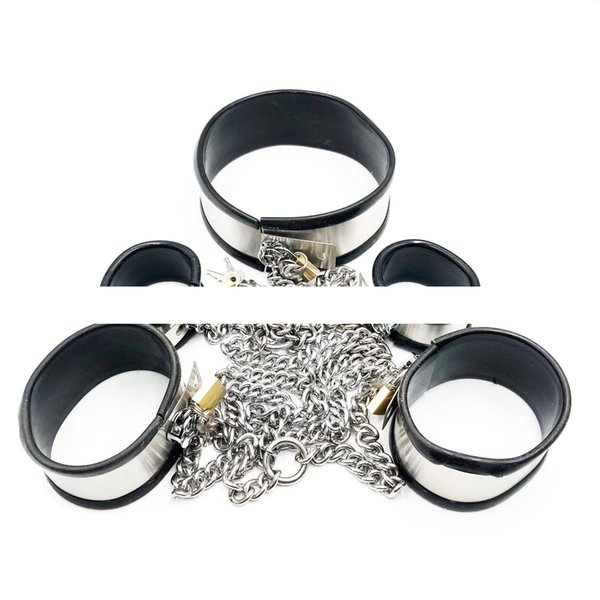 Stainless Steel Bondage Sets Chain Neck Ring Collar Handcuffs Wrist Cuffs Fetters Ankle Cuffs Adults BDSM Sex Toy For Male Female