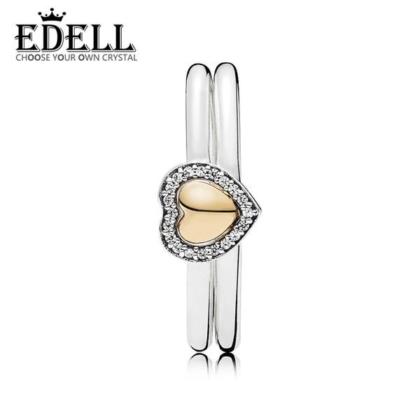 Edell100% 925 sterling silverrau0318 coração de ouro enigma anel conjunto de presente de qualidade mulheres moda jóias presente surpresa