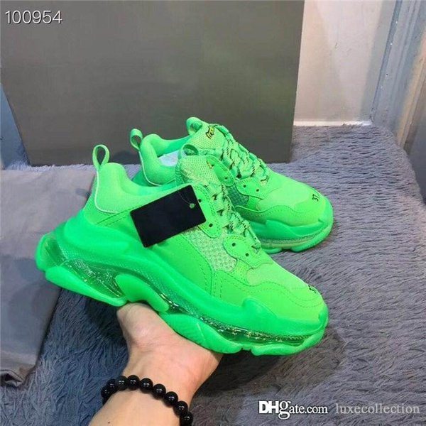 Green Triple S Sneakers Old Dad Shoes,Low Top Triple-S Buffed Leather and Mesh Sneakers for Women & Men Causal sport shoes