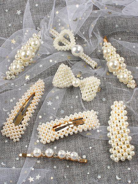 Korean Ins Pearl Hair Clip Barrettes Temperament Girl Fashion Elegant Hairpins Hair Accessories Trendy Style Ornament Women Jewelry 2019 Hot
