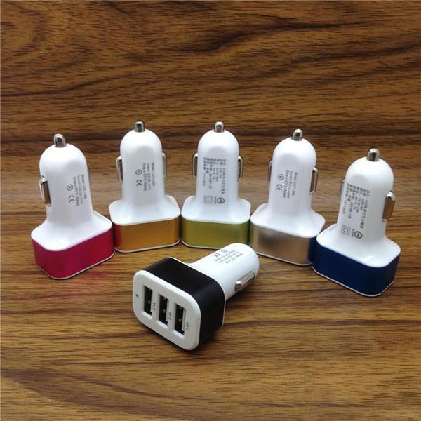 Alta calidad Universal Triple USB Adaptador de cargador de coche Socket USB 3 puertos Cargador de coche Para iPhone Samsung Ipad DHL libre si más de 200 unids