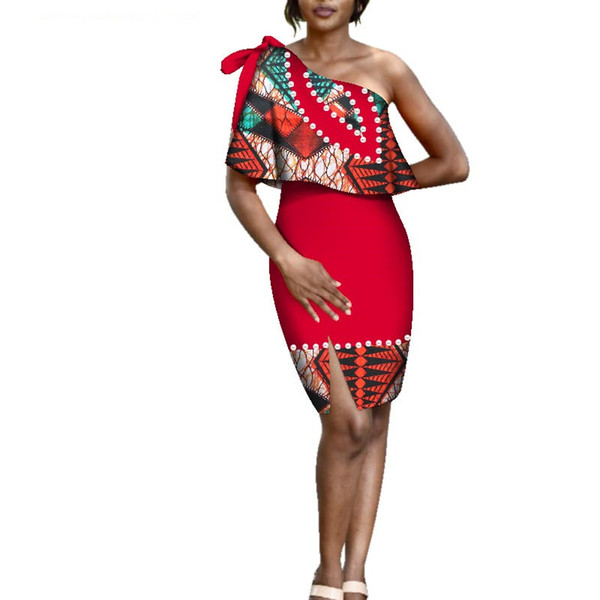 Sexy One-Shoulder Tie Shoulder Dresses African Wax Print Dress Women Bazin Riche Clothes Traditional Design Clothing WY3403