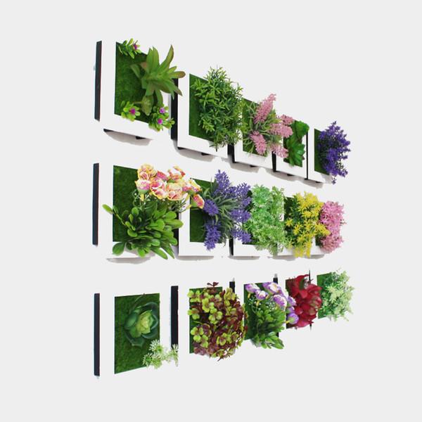 Simulation Plant Photo Frame 49 Designs Tenture 3D Fleurs Artificielles Salle Créative Bureau Mur Photo Décoration 1 Pièce ePacket