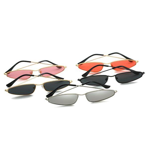 2019 men punk Sunglasses Women Vintage Brand Designer Trend Metal Frame Small Sun Glasses Female Cat Rectangular Sunglass FML