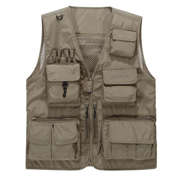 2019 New Summer Vest Men Casual Light Thin Mesh Multi-pockets Vest Male Loose chaleco hombre  Mens Mens Waistcoat
